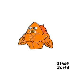 Image of Frank the Goldfish lapel pin