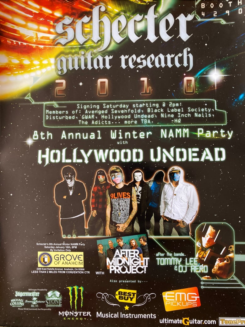 """Image of Hollywood Undead wall poster (18"""" x 24"""") NAMM Party 2010 Shecter Guitars"""