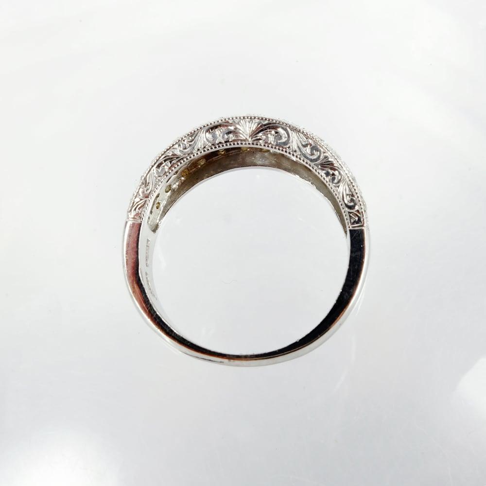 Image of 18ct white gold fancy antique style diamond set band. Sp8
