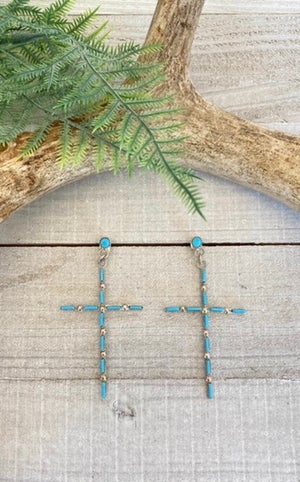 Zuni Turquoise Cross Earrings