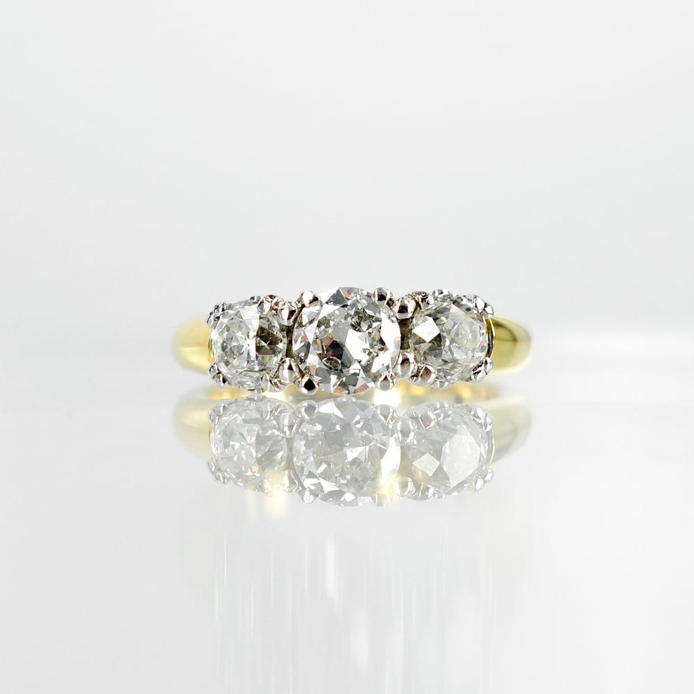 Image of 18ct yellow gold three old cut diamond dress ring. Sp3 (8245)