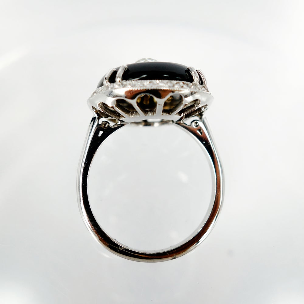 Image of Beautiful art deco 18ct white gold and onyx diamond cocktail ring .Sp7