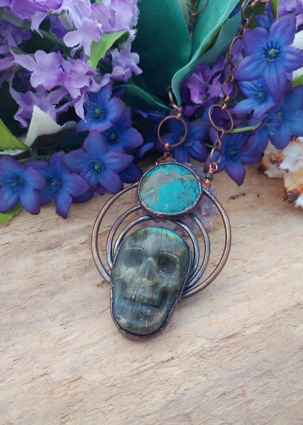 Image of Carved Labradorite and Turquoise Statement Pendant