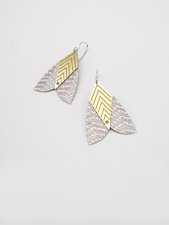 Image of MOTH EARRINGS: PATTERNED MOTH (ST. STEEL / BRASS or COPPER)