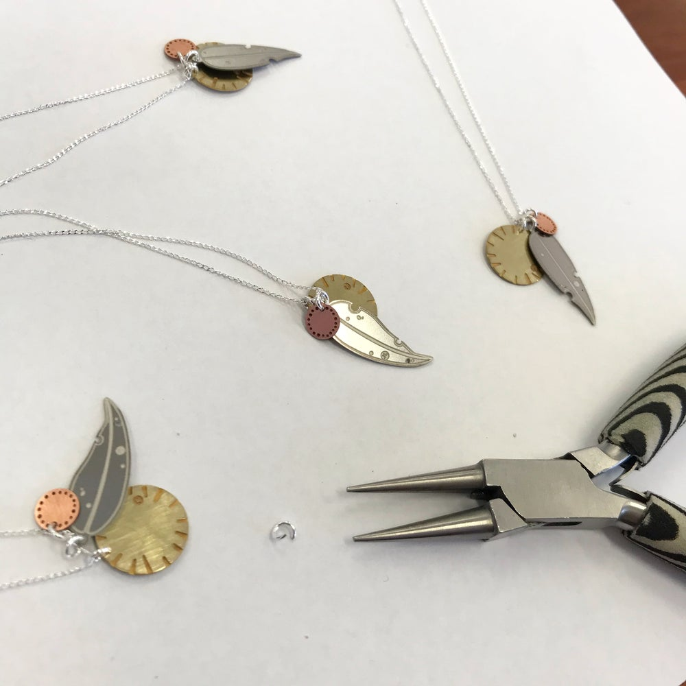 Image of LEAF NECKLACE: GUM BLOSSOM & BLOOM (MIXED METALS)