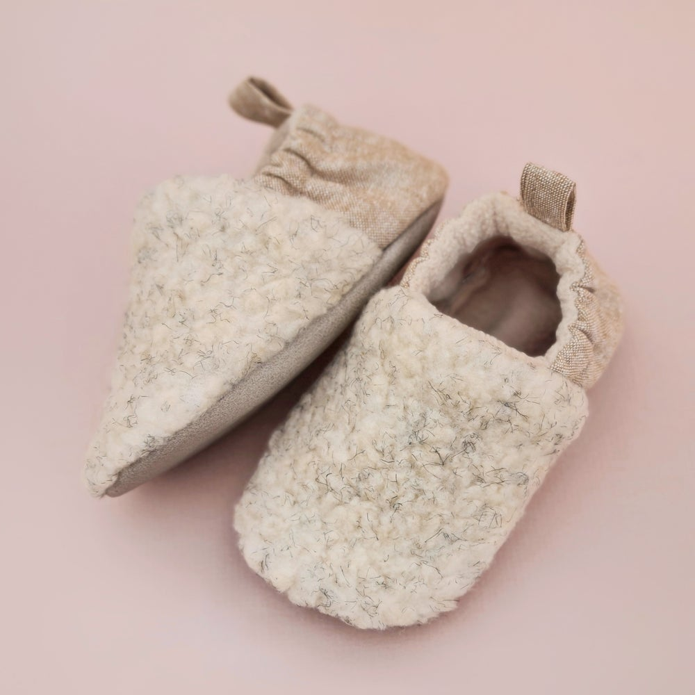 Image of *NEW* Sherpa fleece handmade soft soled baby slippers