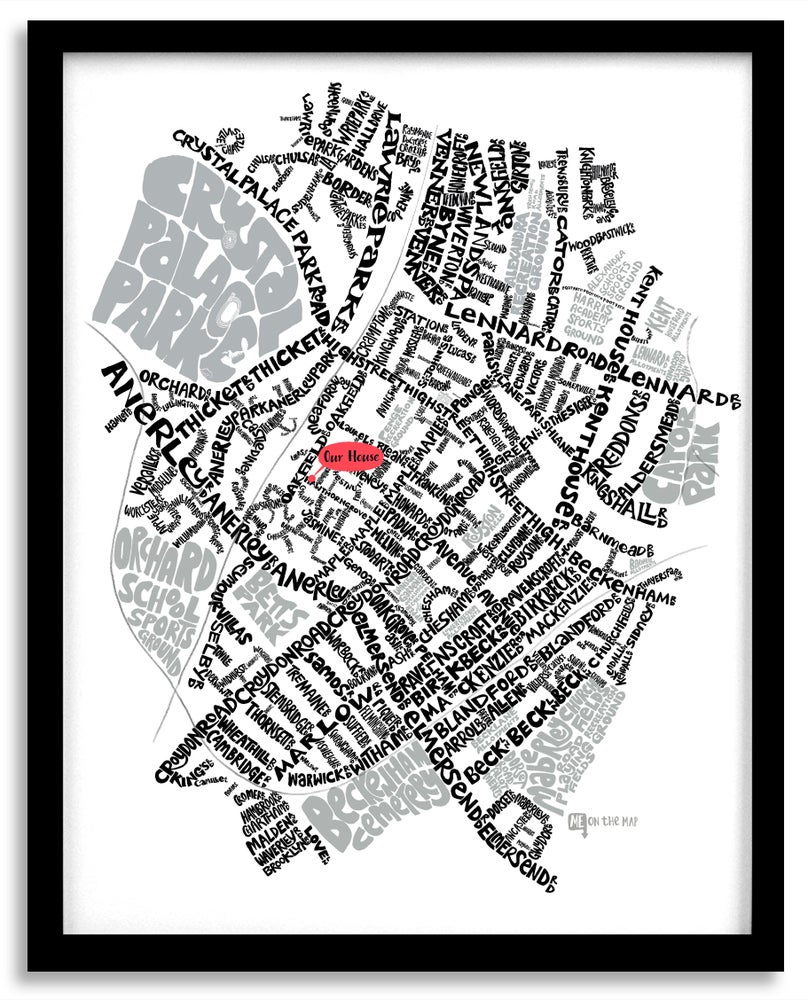 Image of Anerley & Penge SE20 - SE London Type Map - White