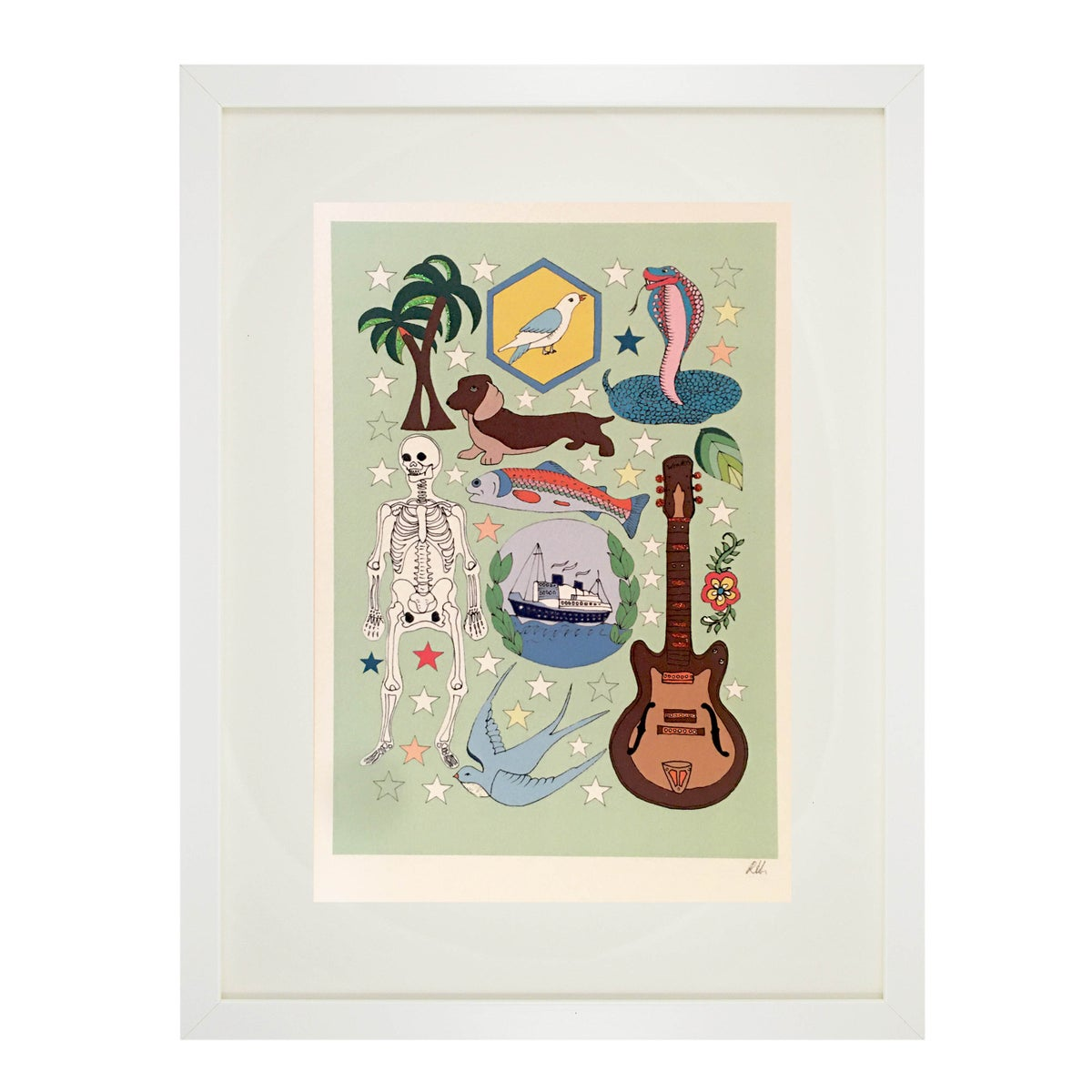 Guitar Glitter Decorated Print
