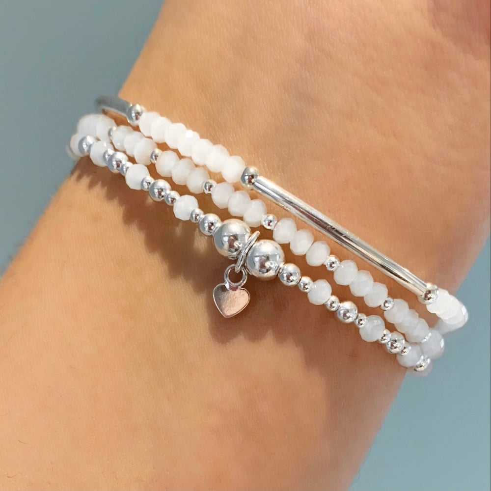 Image of Sterling Silver & White Set of Three Stacking Bracelets