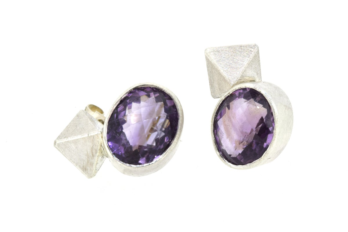 Amethyst Stud earrings with silver octahedron