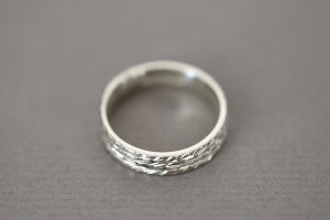 Image of 9ct white gold, 5mm flat court herringbone ring