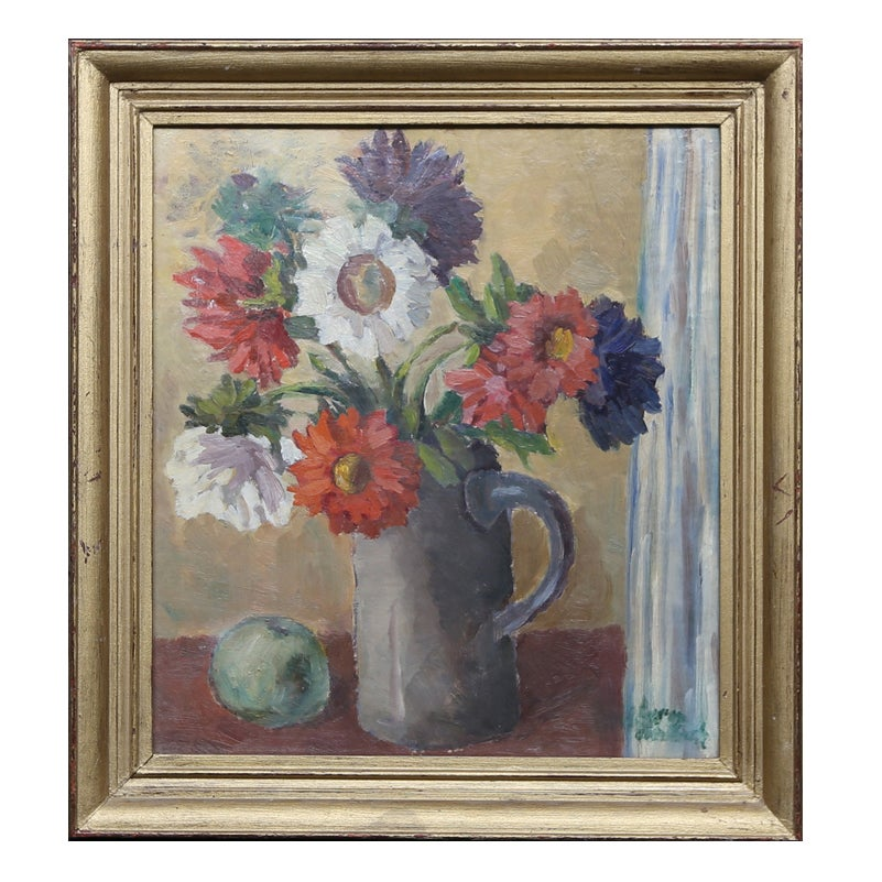 Image of Swedish Mid Century Floral Oil Painting