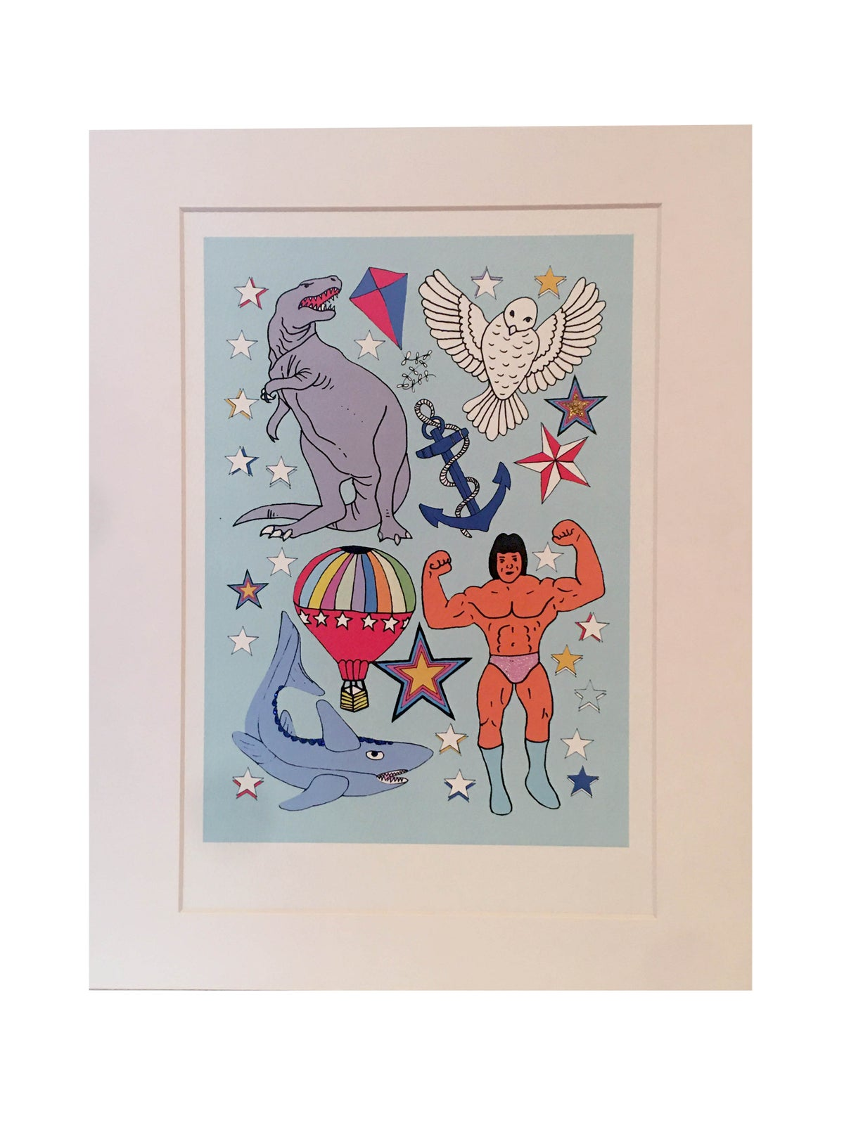 Dinosaur Glitter Decorated Print