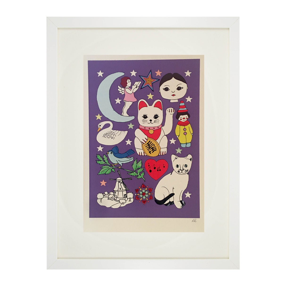 Cats Glitter Decorated Print