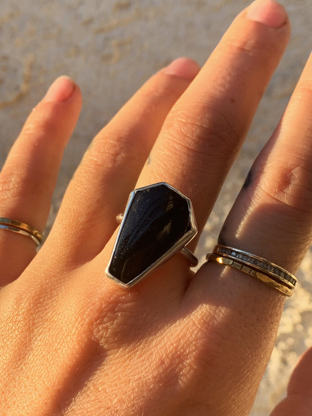 Image of Black Tourmaline Coffin Ring