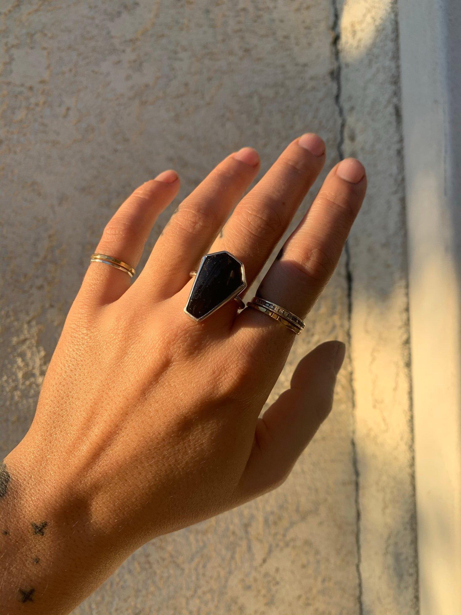 Image of Black Tourmaline Coffin Ring