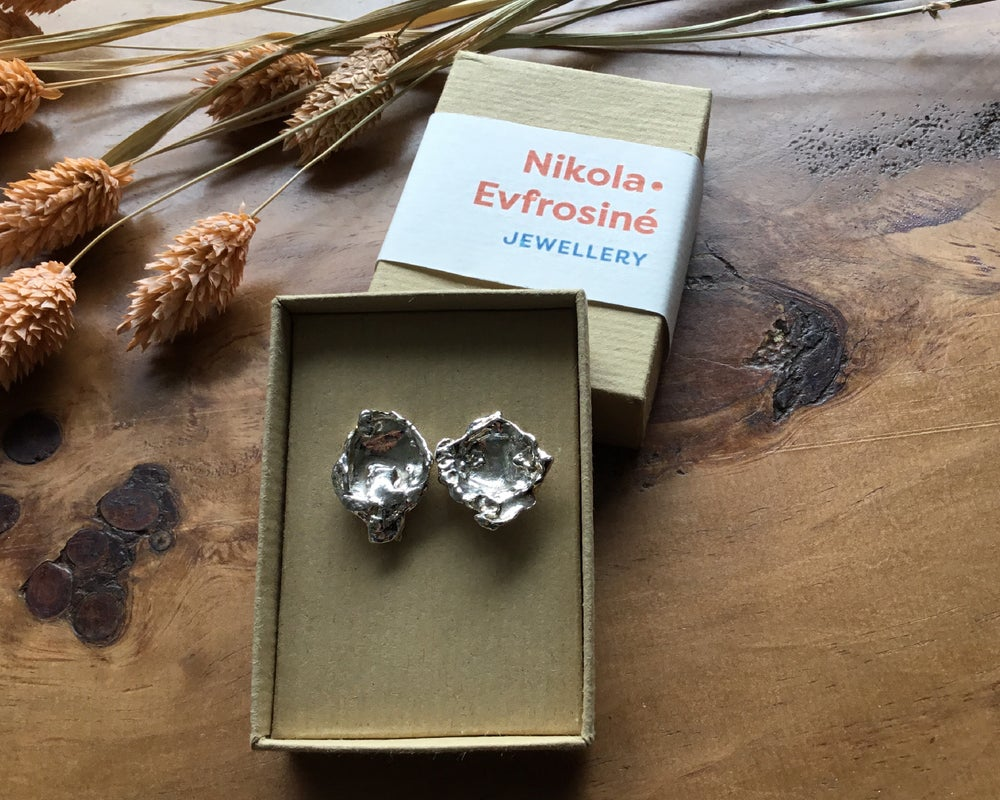 Image of Large Recycled Silver Statement Water Cast Earrings