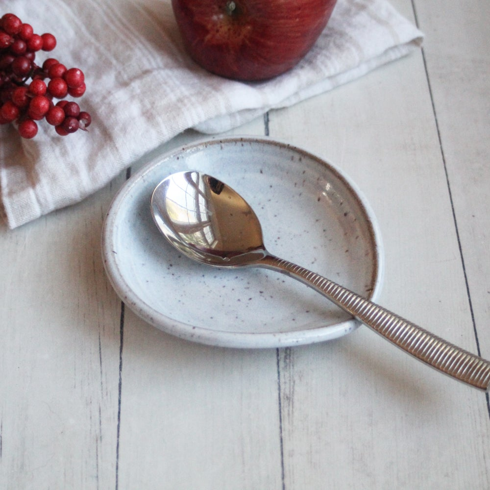 Image of Spoon Rest in Shiny White Glaze on Speckled Stoneware, Coffee Station Dish, Made in USA