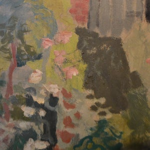 Image of Mid century French oil  Painting. 'Cottage Garden.'