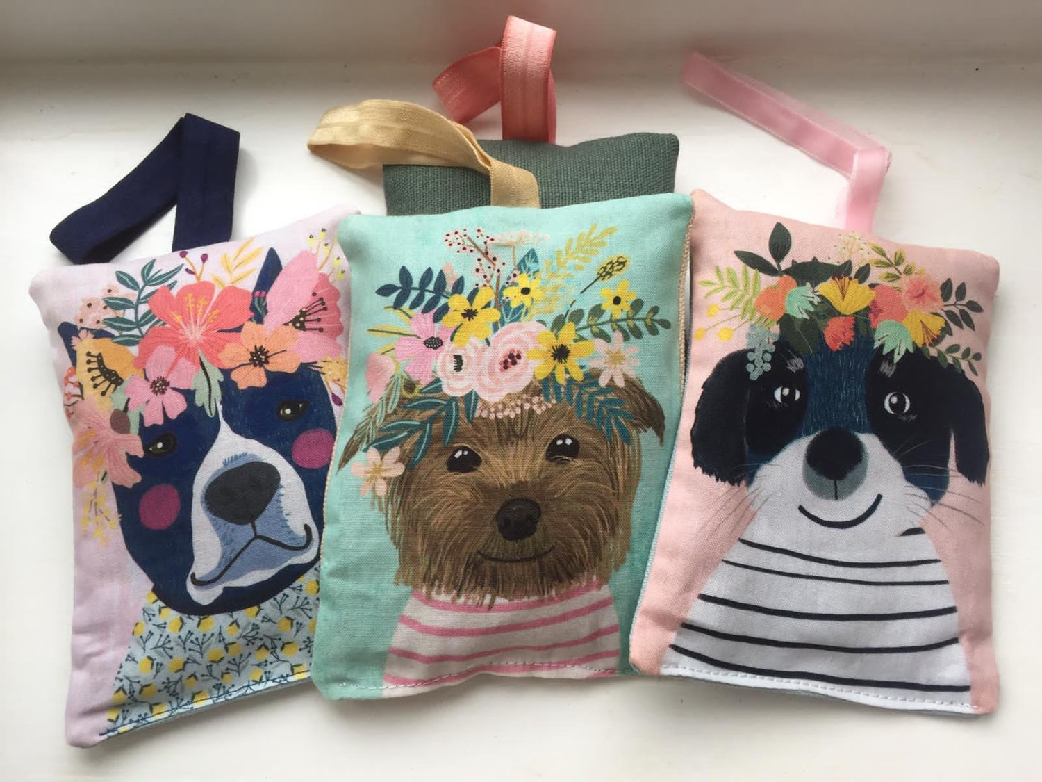 Image of Floral Crowns Puppies Lavender Bags