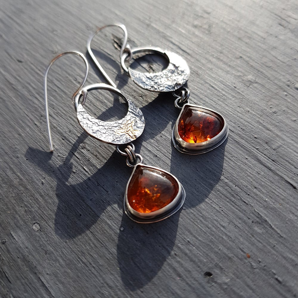 Image of Amber Moon Earrings with 18K Gold