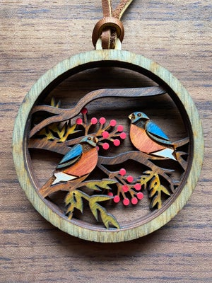 Image of Stacked Woodland Ornament - Winter Birds (single)
