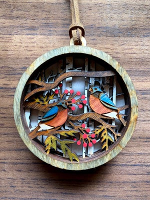 Image of Stacked Woodland Ornament - Winter Birds (double)