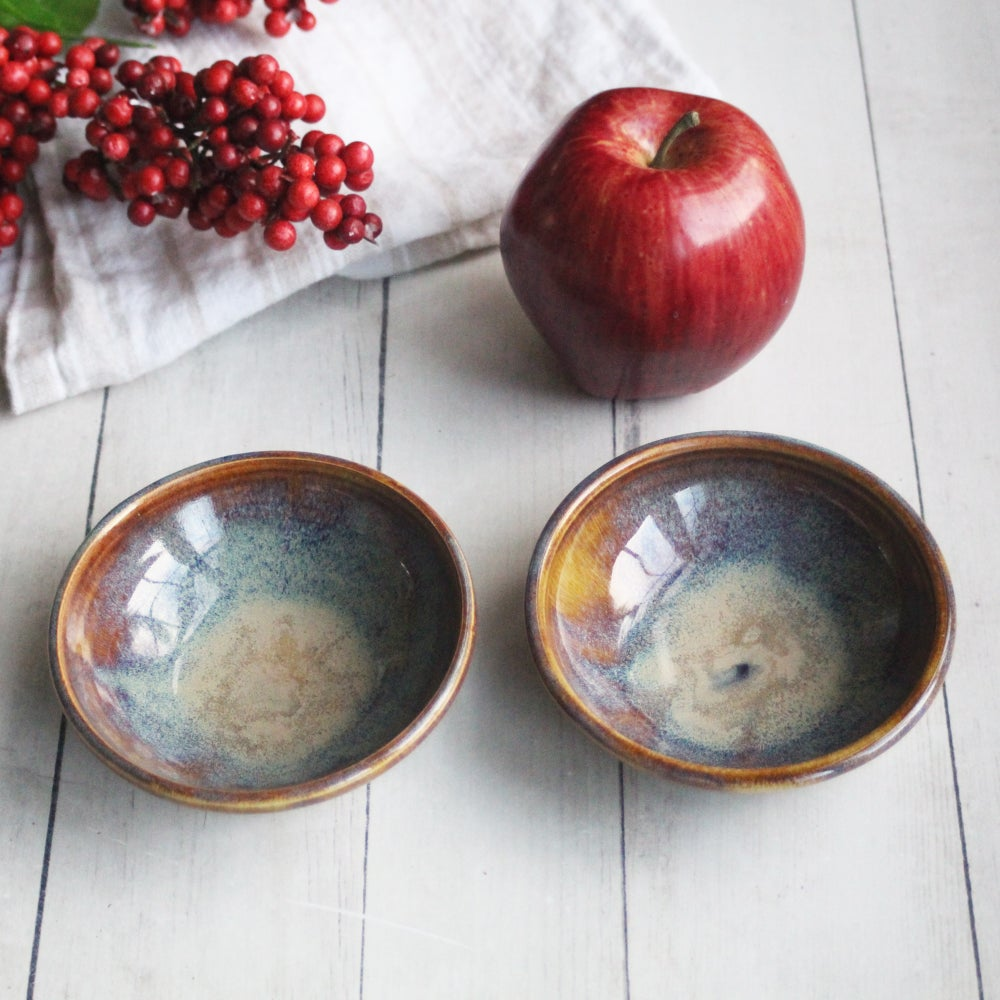 Image of Pair of Handmade Prep Bowls in Amber Brown Glaze, Two Small Pottery Bowls, Made in USA
