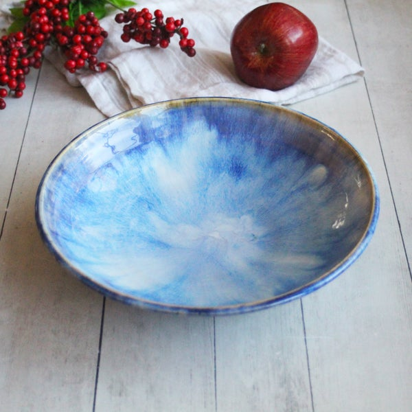 Image of Handmade Shallow Serving Bowl with Swirling Blue Glazes, Blue Pottery Bowl, Made in USA