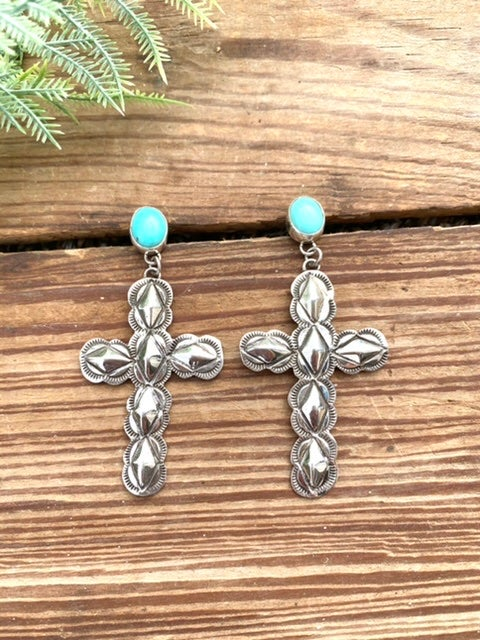 Stamped Cross Earrings with Turquoise