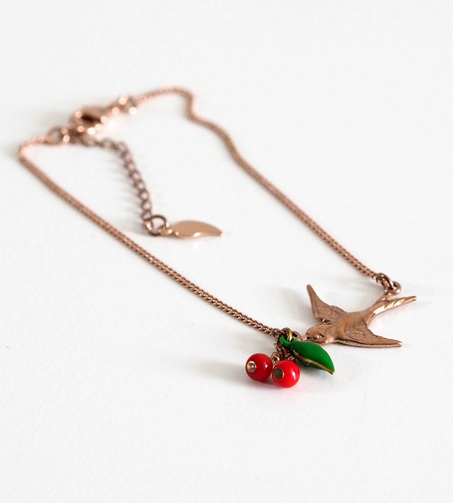 Image of Bracelet Cerises Hirondelle - Doré Or Rose