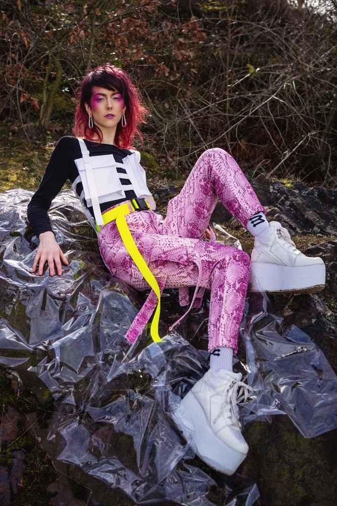 Image of Pink snake cargo pants