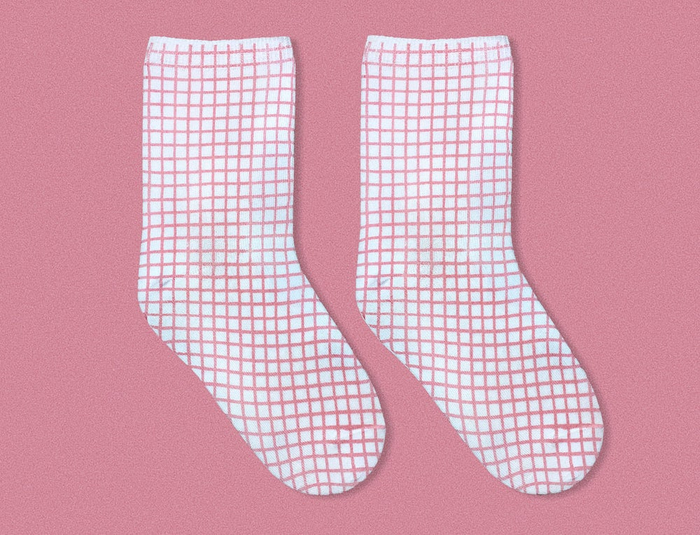 Image of PINK GRID SOCKS