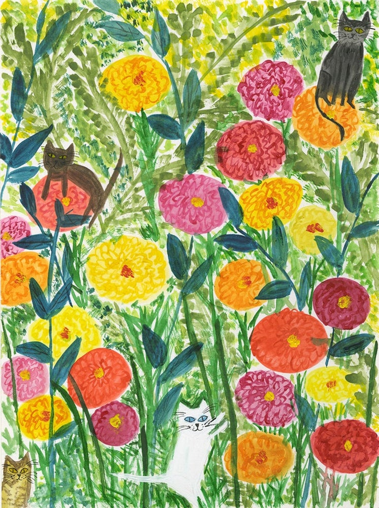 Image of Zinnia Kitties. Limited edition print.