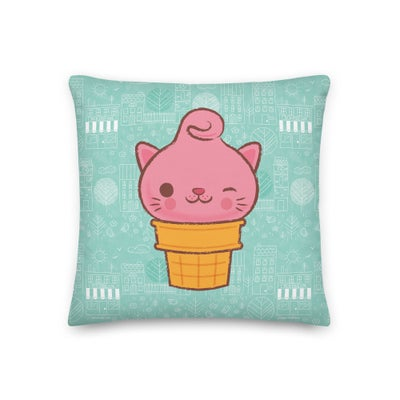 "Image of Classic Miyu and Town Pattern 18"" x 18"" Pillow"