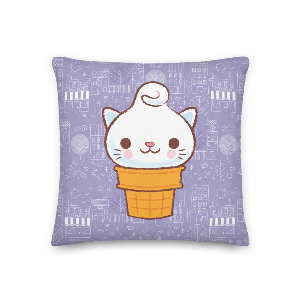 "Image of Classic Yumi and Town Pattern 18"" x 18"" Pillow"