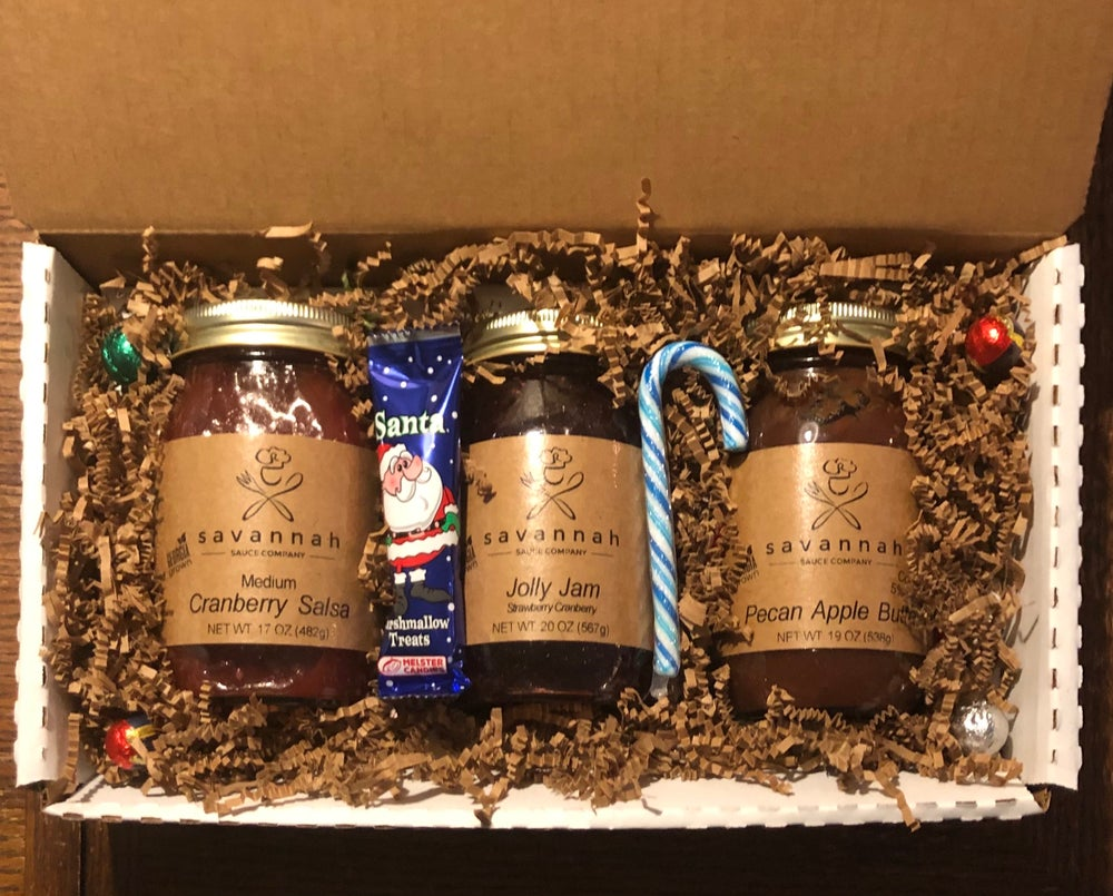 Image of *HOLIDAY GIFT PACK * Cranberry Salsa, Jolly Jam, Pecan Apple Butter Three Pack