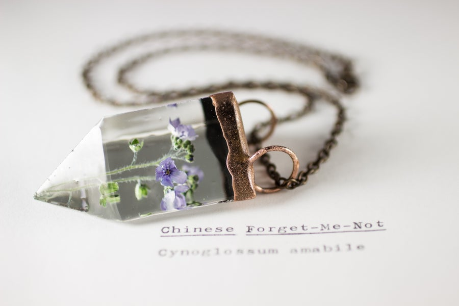 Image of Chinese Forget-Me-Not (Cynoglossum amabile) - Small Copper Prism Necklace #2