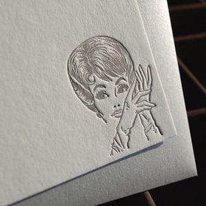 Image of Letterpress Note Set: Mod Girl Silver