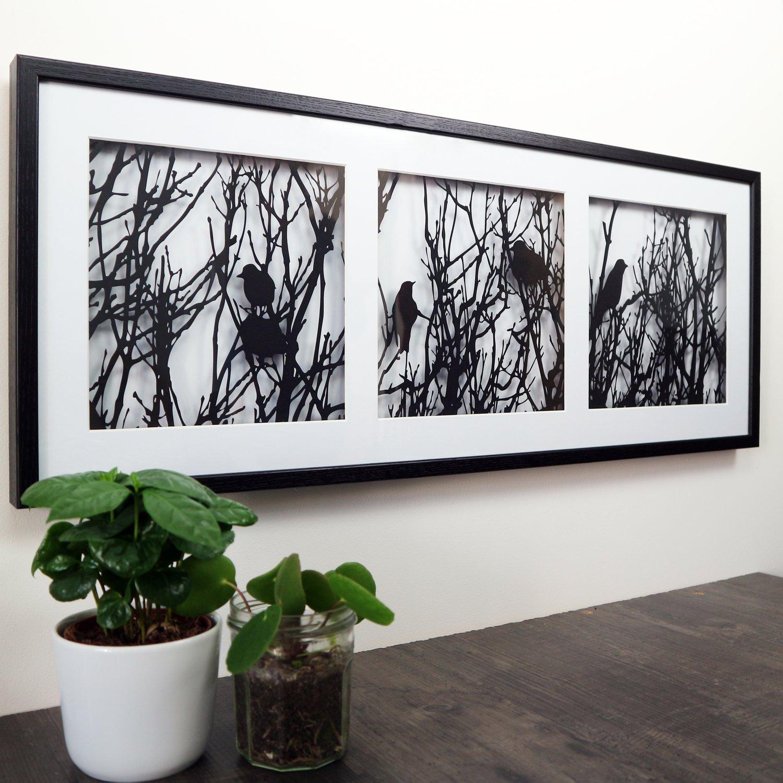 Image of Landscape Triptych Birds Nesting Papercut