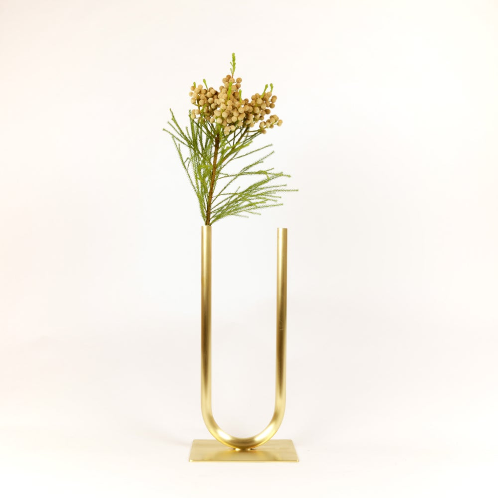 Image of Even Brass U Vase, raw brass: Medium vase, Narrow U, Thick tube