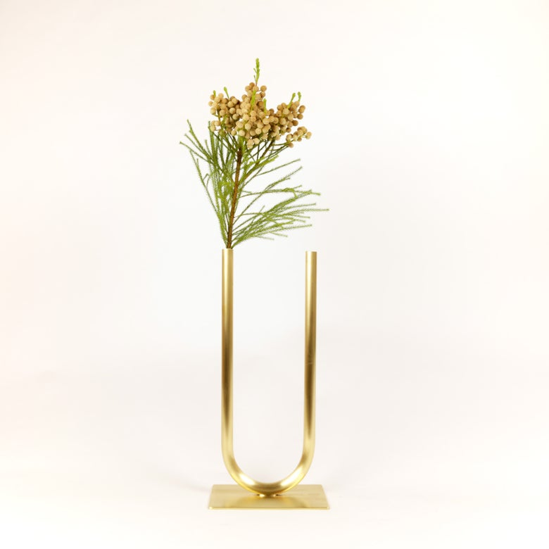 Image of Even Brass U Vase, raw brass: Medium vase, Narrow U, Thick tube