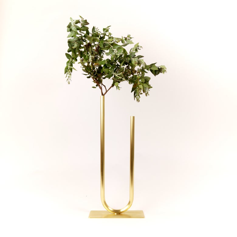 Image of Uneven U Vase, raw brass: Tall height, Narrow U, Thick Tube