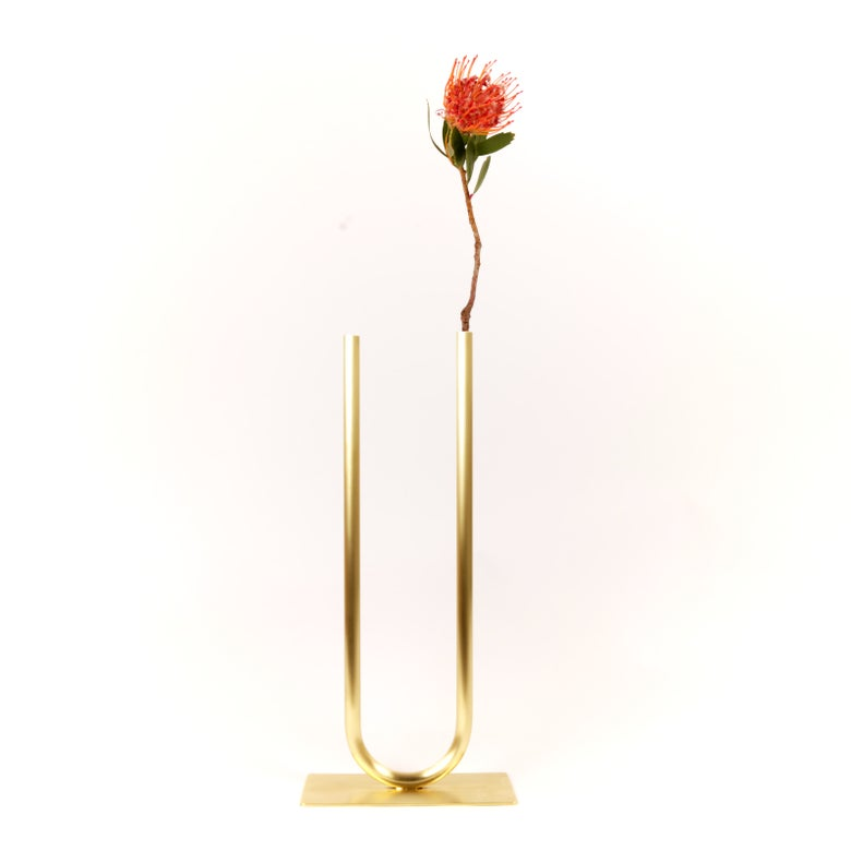 Image of Even U Vase, raw brass: Tall Height, Narrow U, Thick Tube