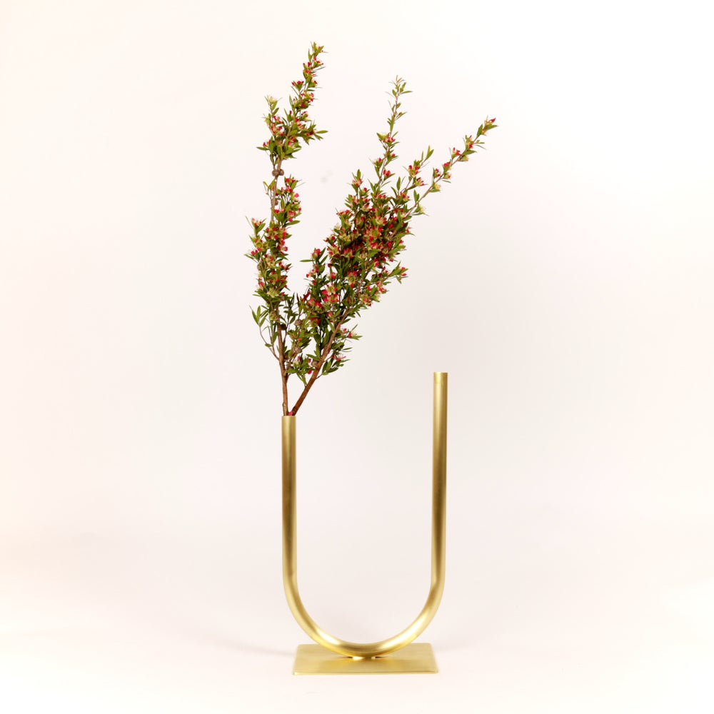 Image of Uneven U Vase, raw brass: Medium Height, Medium U, Thick Tube