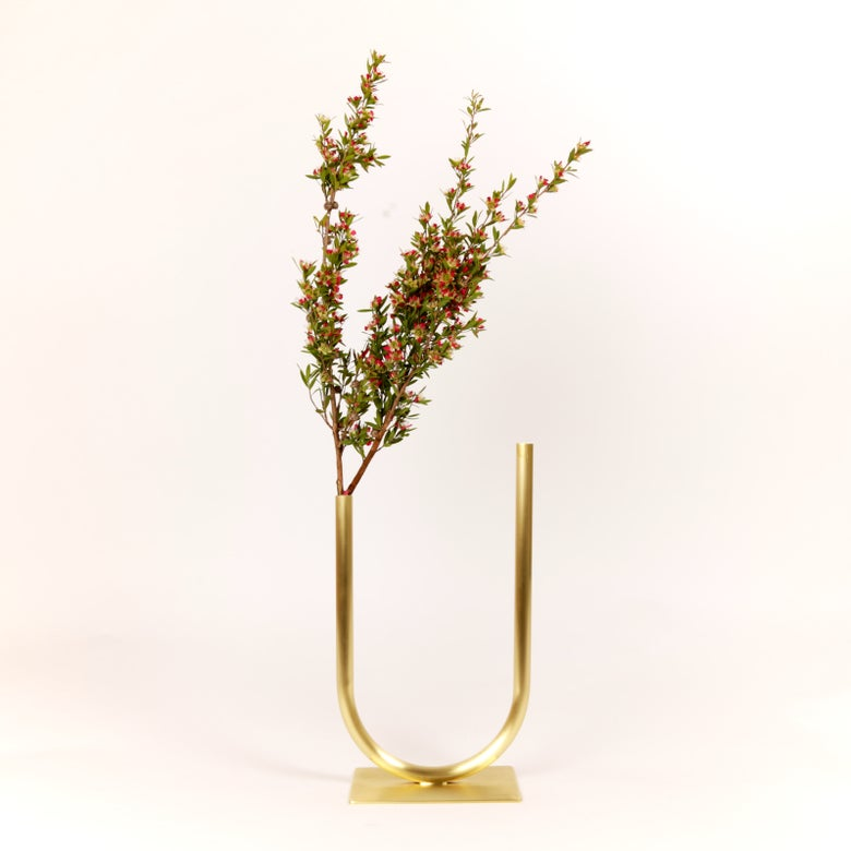 Image of Uneven U Vase, raw brass: Medium Height, Medium U, Thick Tube