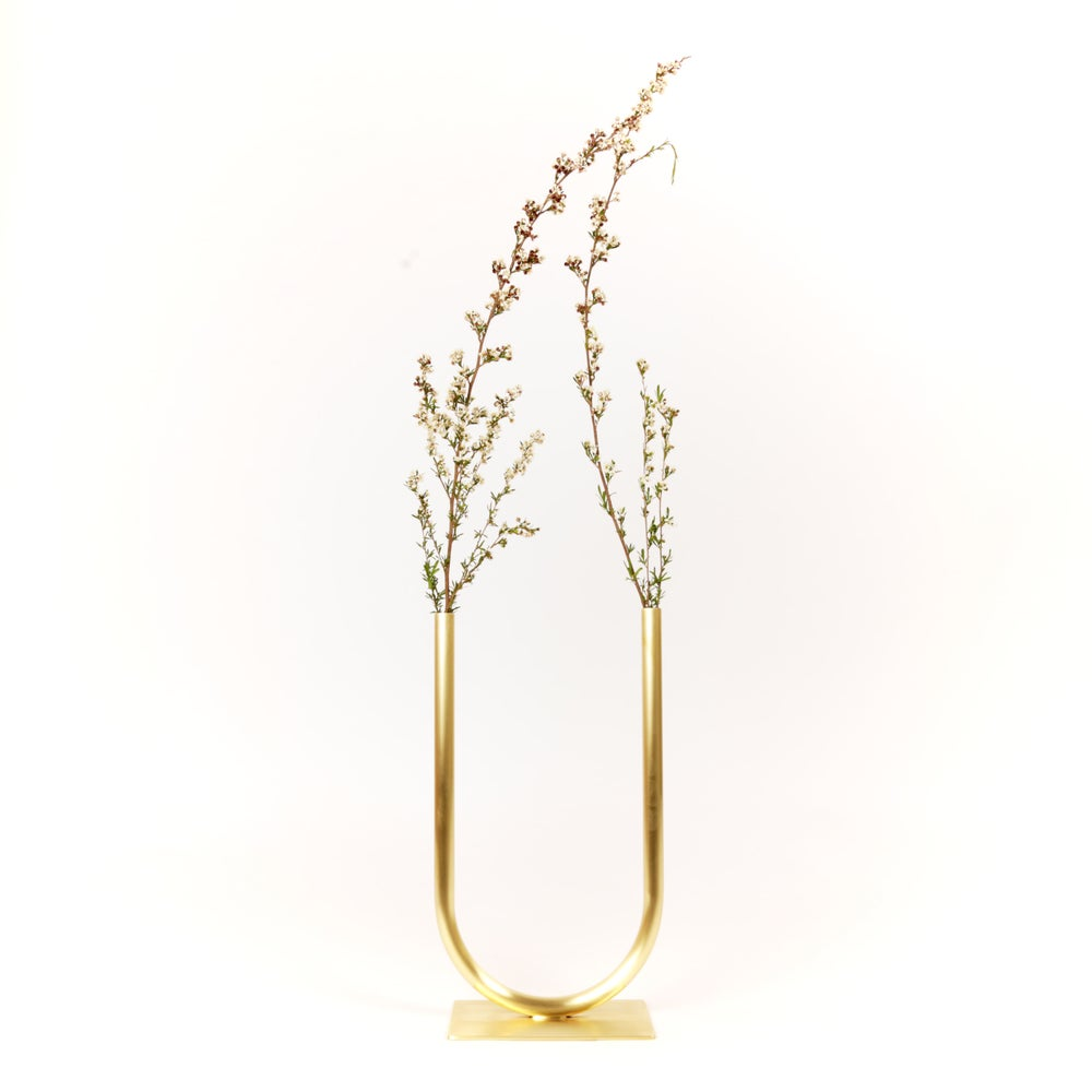 Image of Even U Vase, raw brass: Medium Height, Medium U, Thick Tube