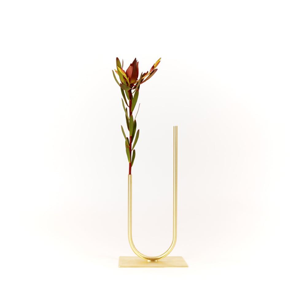 Image of Uneven U Vase, raw brass: Short Height, Narrow U, Thin Tube