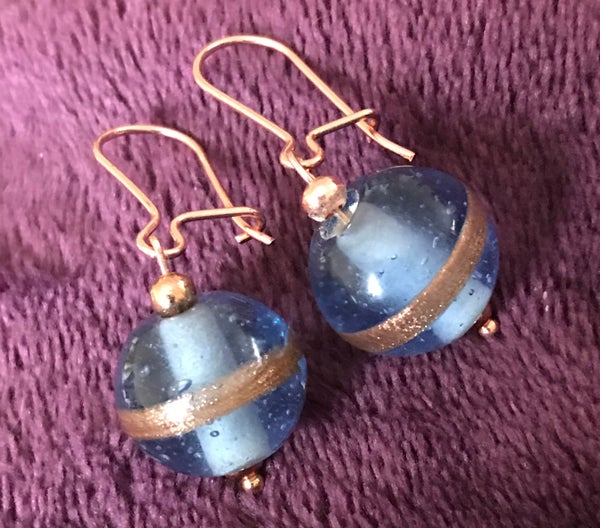 Image of Rose gold glass beaded earrings