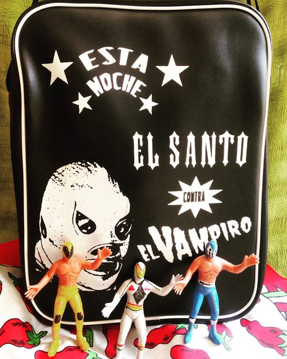 "Image of ""El Santo"" Shoulder Bag & lucha libre dolls"